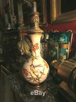 Ancienne lampe a petrole variateur XIXe faience peinte et bronze Napoleon III