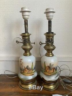 Ancienne paire de lampe a Pétrole napoleon III XIXe Porcelaine De Paris