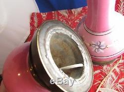 Ancienne paire de lampe en porcelaine epoque napoleon III XIXe rose & laiton
