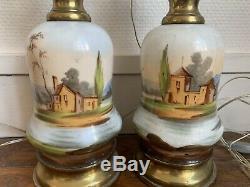 Ancienne paire de lampe epoque napoleon III XIXe Porcelaine De Paris Et Laiton