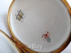 Ancienne tabatiere porcelaine de Chantilly Coq et poule style XVIIIe boite XIXe