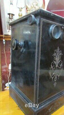 Ancienne visionneuse photo stereoscopique plaque bois noirci XIXe napoleon III