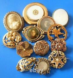 Ancient Antique XIX Jewelry Jewels Lot Bijoux Anciens Napoleon III En Plaque Or