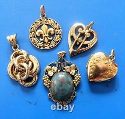 Ancient Antique XIX Jugdenstil Pendants Jewels Lot Bijoux Anciens Napoleon III