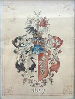 Aquarelle ancienne, Blason allemand ou alsacien Cadre Napoléon III, XIXe