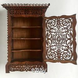 Armoire miniature fin XIXe en bois découpé, meuble de rangement, maitrise poupée