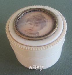 BOITE A POUDRE RONDE PILULIER PRISER miniature cantonese XIX è patch box