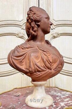 BUSTE DE MADAME DU BARRY EN TERRE CUITE D'ÉPOQUE NAPOLÉON III VERS 1850 XIXe