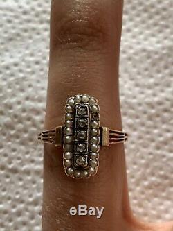 Bague ancienne Napoléon III en or 18 carats K et perles fines diamants XIX XIXè