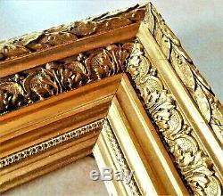 Beau cadre à large moulure en bois et stuc doré d'époque fin XIX ème vers 1880