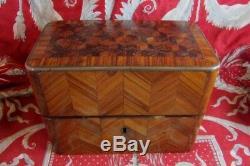 Bel ancien coffret boite coffre XIXe napoleon III en bois de rose marqueté