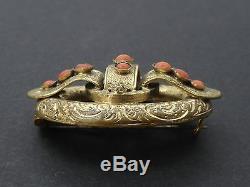 Belle broche ancienne Napoleon III en pomponne et corail XIXe