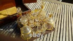 Belle cave liqueur en loupe d'orme XIXe Napoléon III verres et carafes cristal
