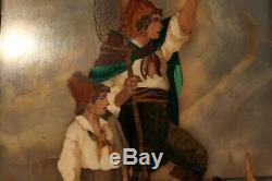 Belle marqueterie marbre pêcheur Naples Italie, XIXè