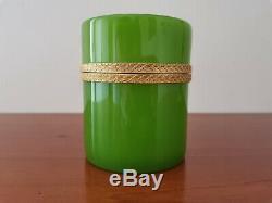 Boite Cylindrique Opaline Verte Epoque Fin XIX°/début XX°