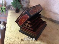 Boîte à cigarettes en bois marquetée marqueterie 1850-1870 XIXe Napoléon III