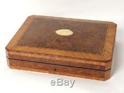 Boîte à jeu coffret loupe amboine bois rose jetons Napoléon III XIXè siècle