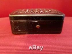 Boite à timbres ancienne Napoléon III marqueterie Boulle XIX éme s