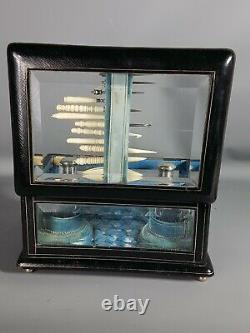 Boite parfum et couture, flacon cristal taillé & argent, XIXe siècle, bel état