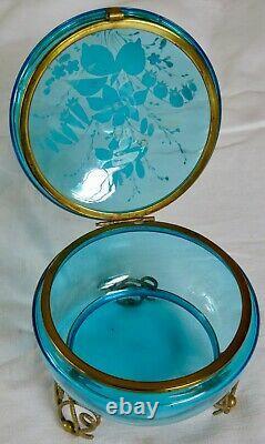 Bonbonnière / Drageoir Xix° Napoléon III Verre Bleu Émaillé