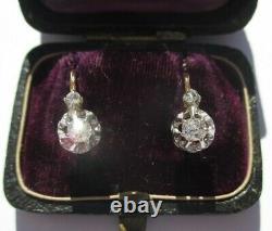 Boucles doreilles dormeuses ancien XIXe diamants Or 18 carats gold 750 3,8g