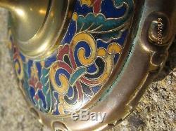 Bougeoir XIX°En Bronze Cloisonné Emaillé, signé Ferdinand Barbedienne