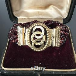 Bracelet XIXè Grenats Facettés Monture Argent Vermeil Napoléon III Victorian 19C