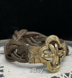 Bracelet ancien Napoleon III Travail de cheveux Vermeil XIX Victorian Deuil
