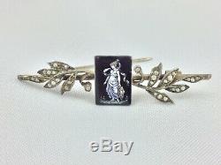 Broche En Argent Avec Plaquette Emaille Decor A L Antique Perle XIX Eme H130