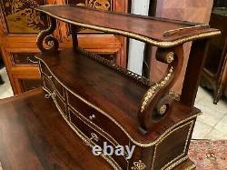 Bureau à gradin bonheur du jour palissandre ornements bronze XIXe Napoléon III