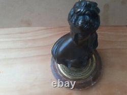 Buste femme en bronze patine brune style Napoléon III, XIXe s, socle en marbre