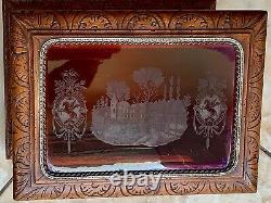 CAVE À LIQUEUR Fin XIXe Bois Sculpté & Verre Coloré Gravé 4 Carafes & 16 Verres