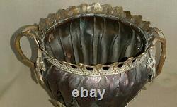 Cache-pot fin XIXe (cuivre et bronze) à décor de feuillages