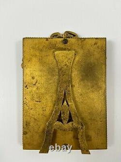 Cadre En Bronze Dore XIX Eme Napoleon III Noeud Louis XVI Petite Taille H2230
