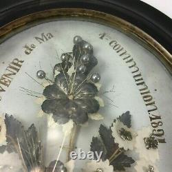 Cadre Napoleon III Verre Bombe Souvenir De Ma 1 Ere Communion XIX Eme H935