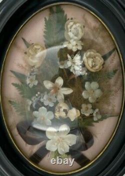 Cadre Ovale Napoleon III Verre Bombe Decor Floral Tissu XIX Eme H3079