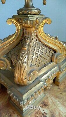 Candelabre Bronze Dore Chandelier Flambeau Napoleon III XIX Eme