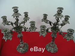 Candélabres bronze argenté du XIX style louis XV époque Napoléon III chandeliers