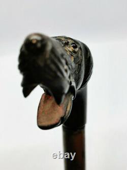 Canne ancienne en bois noirci style art populaire époque vers XIXe