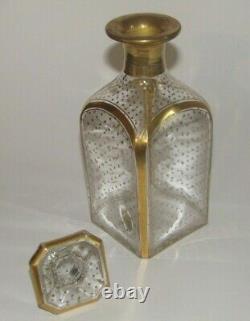 Carafe de cave à liqueur XIX ème en cristal Baccarat décor doré Napoléon III