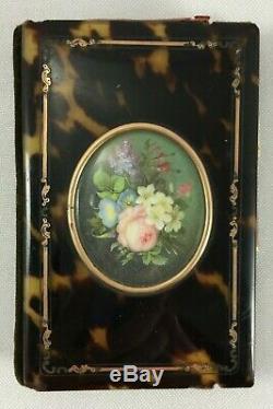 Carnet De Bal XIX Eme Ecaille Miniature Peinte Bouquet Napoleon III Tahan H448