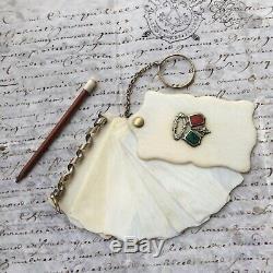 Carnet de Bal Ecusson Malachite Cornaline Napoleon III XIXè Victorian Dance Card