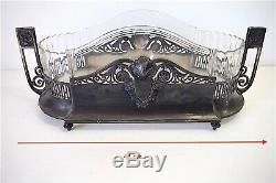 Centre de table XIX ème métal argenté et cristal jardinière 19th