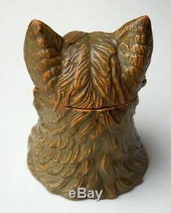 Chat Terre Cuite, Autriche, XIXe Antique Cat Figural Austrian Clay Jar