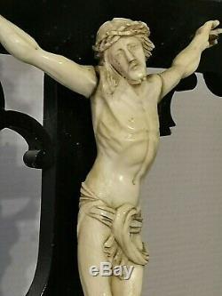 Christ Sur La Croix Xvii/ Xix° En Bois Laque Noir Napoleon III 61 CM