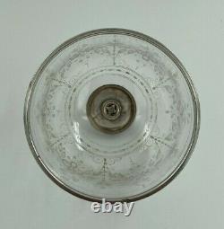 Cloche En Cristal Montee Argent XIX Eme A Decor Floral Travail A La Meule H2572
