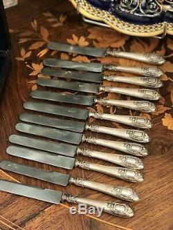 Coffret 12 Couteaux Dessert Argent Massif Napoleon III XIX Eme S Minerve