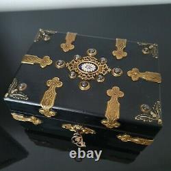Coffret À Bijoux Napoléon III avec Emaux Bressans XIXè Victorian Jewel Casket