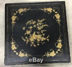 Coffret Boite A Chale Bois Laqué Decor Personnage Chine Canton Xix° Vers 1860