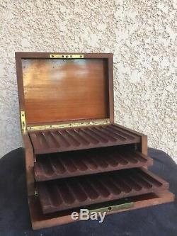 Coffret Boîte Cave à Cigares Bois Loupe dOrme Fin XIX ème Napoléon III Tabac